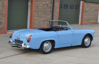 Iris blue MG Midget, totally restored and ready to go
