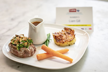 Beef Fillet with a Gratin of Wild Mushrooms & Potato Dauphinoise