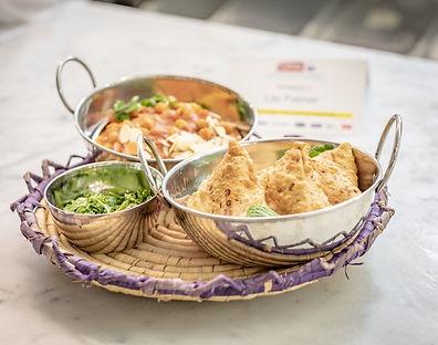 Mackerel Curry with Aloo Gobi & Saag Samosas and a Fresh Mint & Coriander Chutney
