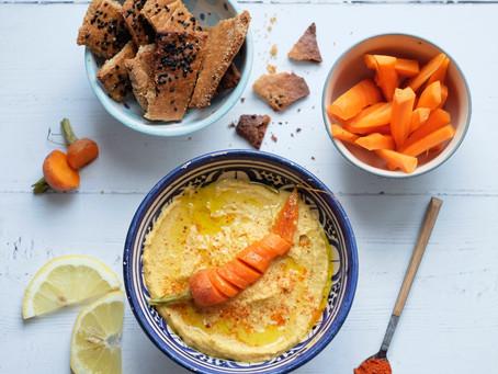 Hummus amb pastanagues al forn