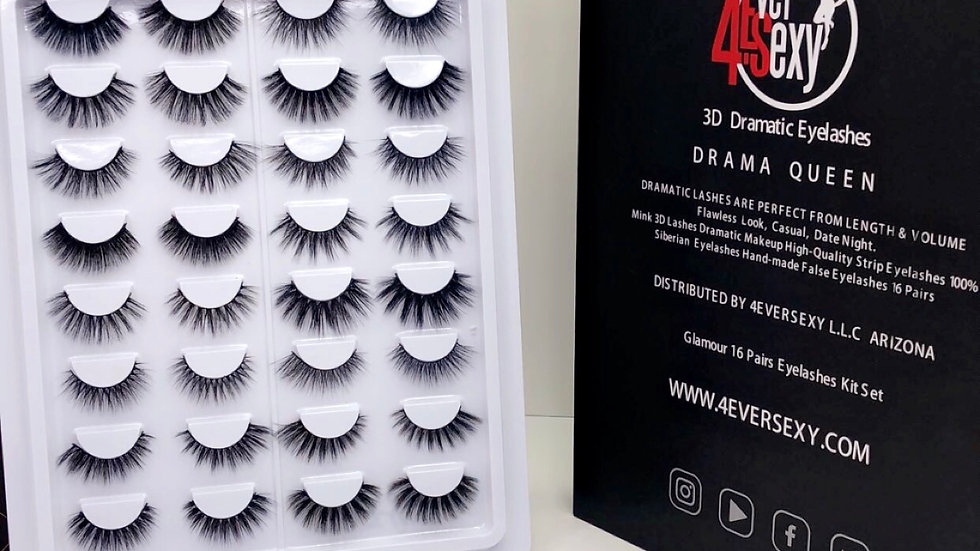 Lashes Book 16 Pairs Mink Eyelashes Drama Queen Kit Set