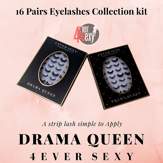 16 Pairs Drama Queen  Eyelashes Collection Kit