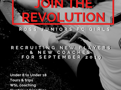 New players and coaches needed for girls section