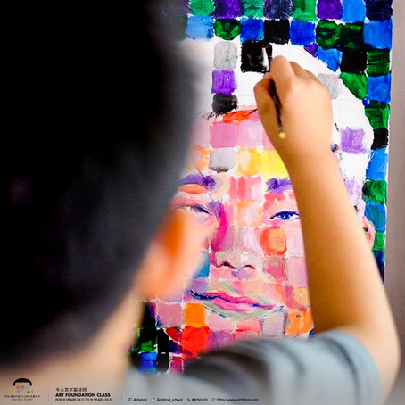 Art Foundation Programme - Chuck Close Inspired Self Portrait Canvas Painting Project