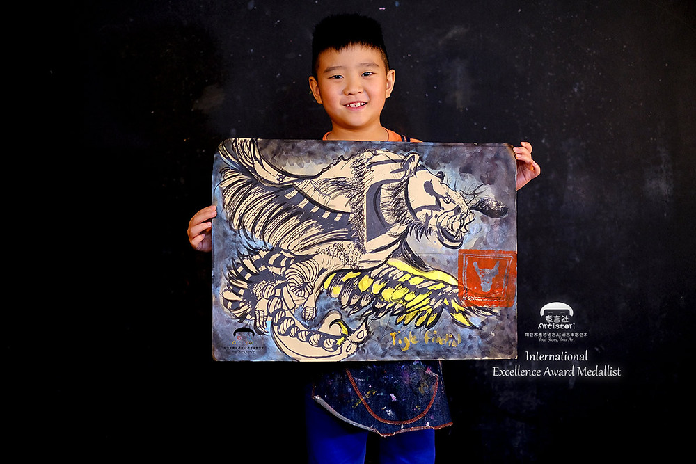 Artistori Little Artist Claims International Excellence Award - Sim Hao Yi on Mythical Creatures