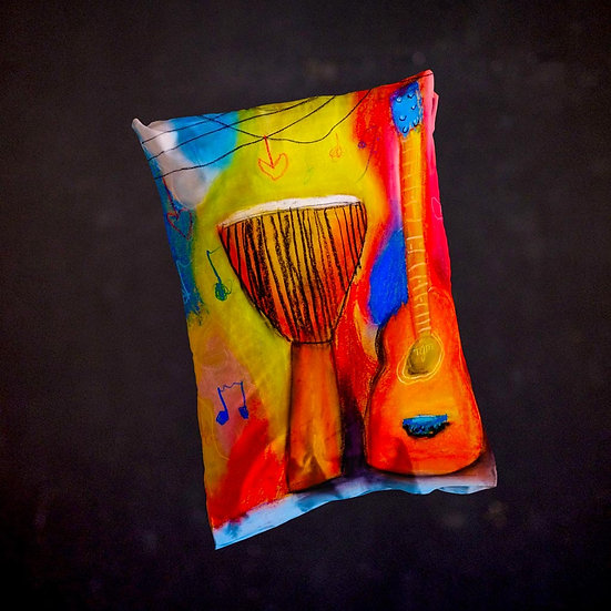 Stacey's Guitar Djembe Throw Pillow