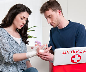 Young man bandage his girlfriend with fi