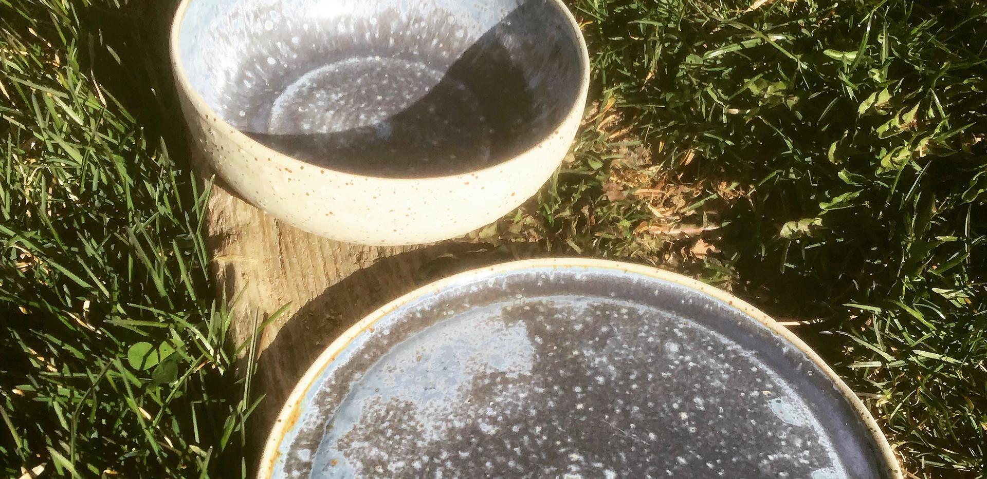 assiettes gres pyrité