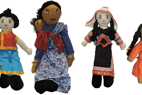 4 Set of Multi-Cultural Dolls