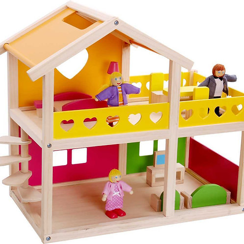 Happy Villa Wooden Doll House - with Furniture and Figurines