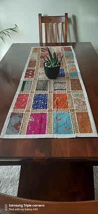 Multi-Coloured Handmade Table Runner 120cm x 40cms - White