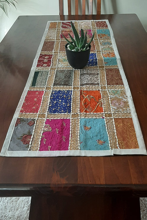 Multi-Coloured Handmade Table Runner 120cm x 40cms - White