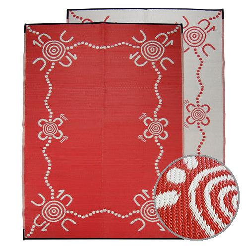 TRACKS Aboriginal Design Recycled Mat, Red & White 1.8x2.7m