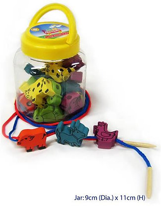 Farm Animal In Jar -30 wooden animal shapes with treading holes