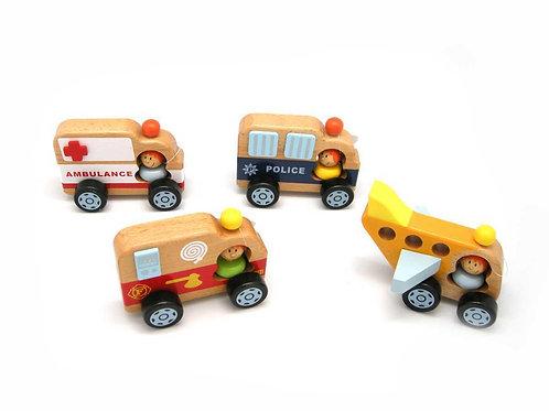 Wooden Emergency Vehicle Set of 4
