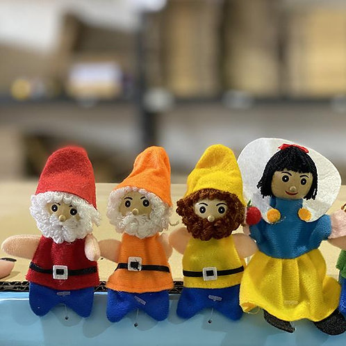 Snow White  and all 7 Dwarfs finger puppets  8pc -