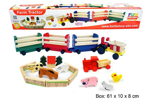 Farm Animals in Wooden Tractors-20 Pieces
