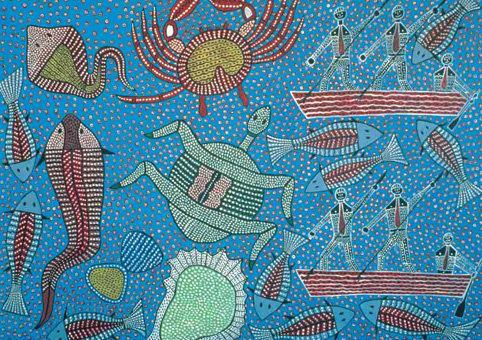 Gathering Seafood Koori Artwork Size A4