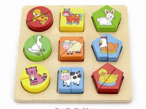 Shapes Blocks - Farm Puzzle