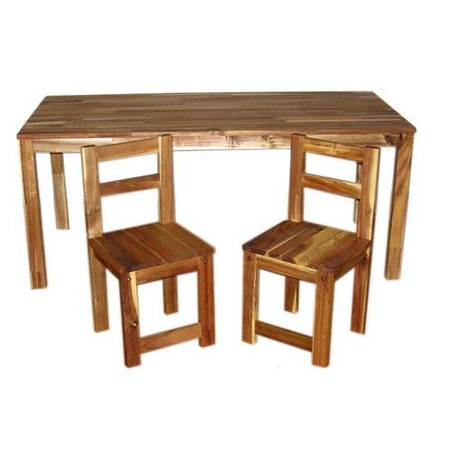 Hardwood Rectangular Table With 2 Standard Chairs
