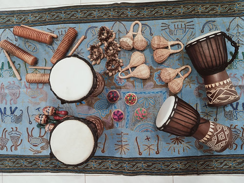 24 Pc African Musical Instruments (Large Set)