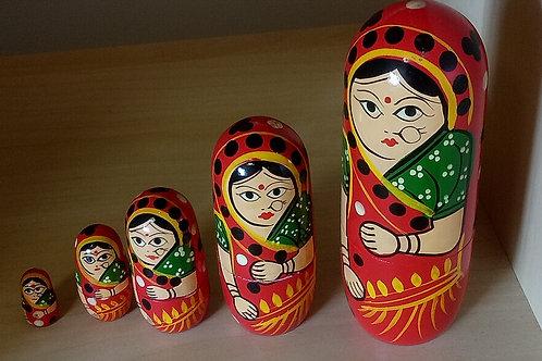 5 in 1 Indian Female in Saree Babushka Doll