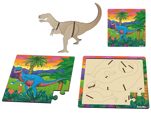 Allosaurus two layered 16 pieces & 7  3D Puzzle Pieces