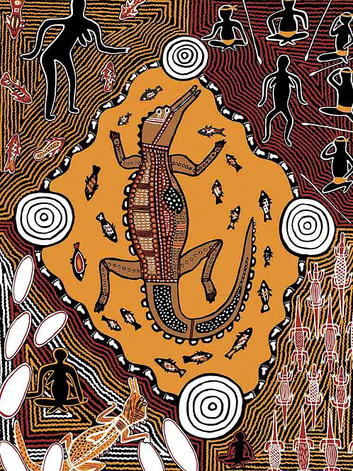 Crocodile Story Koori Artwork Size A3