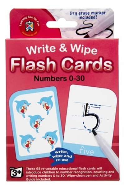 Write & Wipe Numbers 0-30 Flash Cards with Marker