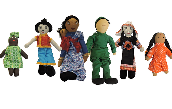 6 X Multi-Culturual Doll Set