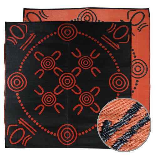 GATHERINGS Aboriginal Design Recycled Mat, Orange & Black 1.8x1.8m