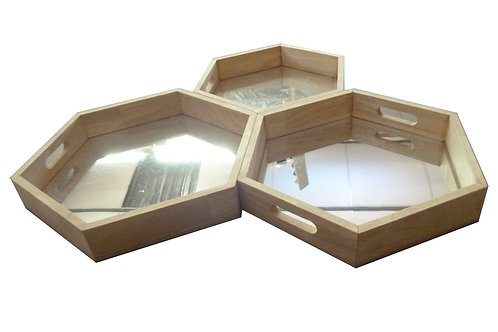 Mirror Trays Hexagonal set of 3