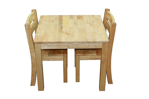 Solid Timber Table with 2 Stacking Chairs