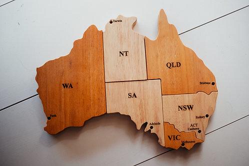 Wooden Australian Map