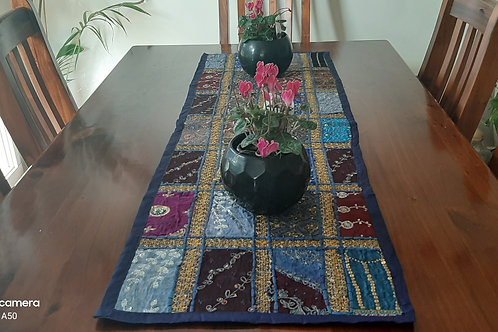 Multi-Coloured Handmade Table Runner 120cm x 40cm - Royal Blue