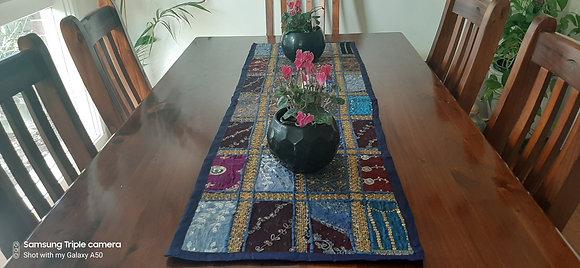 Multi-Coloured Handmade Table Runner 120cm x 40cm - Royal Blue