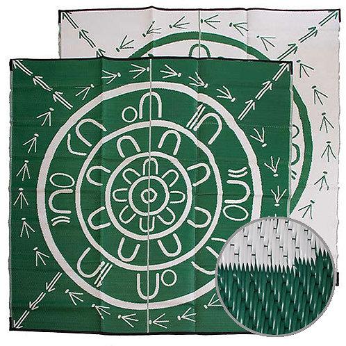 THE YARNING CIRCLE Aboriginal Design Recycled Mat, Green & White 2.7x2.7m