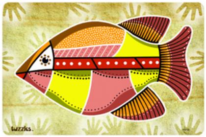 Aboriginal Art Cave Fish Wooden Puzzle