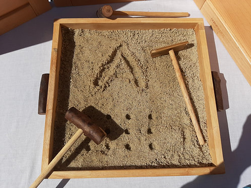 Wooden Montessori Tray with 3 Wooden Sand Tools