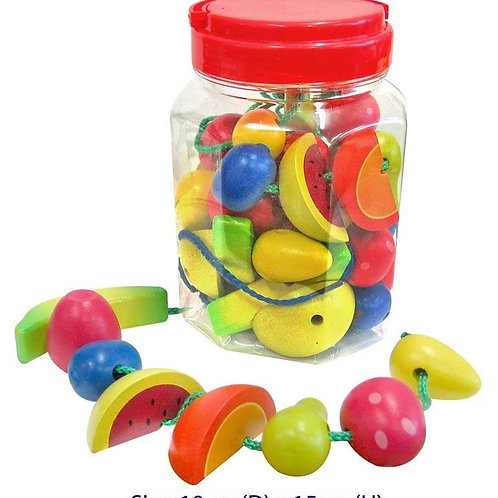 Wooden Threading fruits play set 34 assorted fruits  in Jar