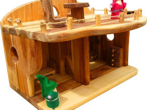 Medium chunky  Dollhouse with 10 raw wood furnitures