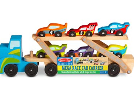 M&D Jumbo Wooden Truck with Race Cars - 8pc