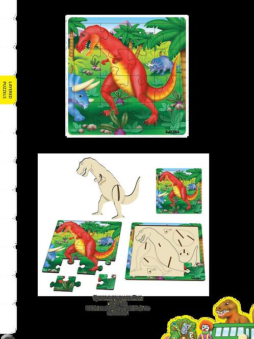 Tyrannosaurus Rex  layered puzzle-16 pieces top +7 pieces 3D Puzzle