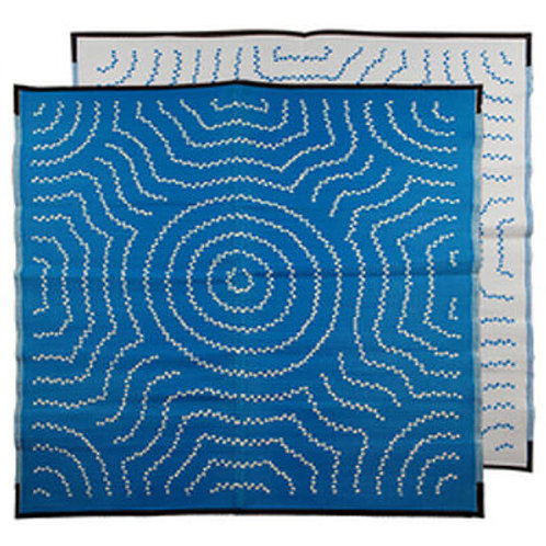Water Dreaming Aboriginal Design Recycled Mat, Blue & White 1.8x1.8m