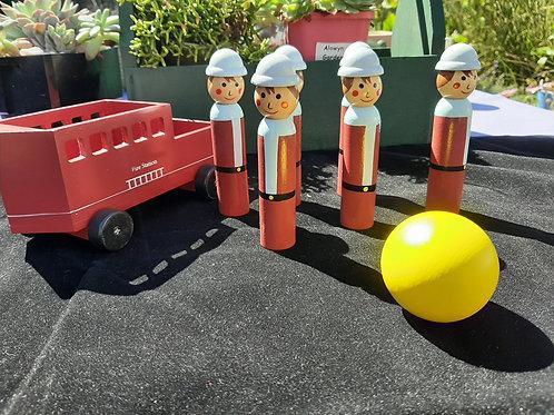 Wooden Fire Truck Bowling Set