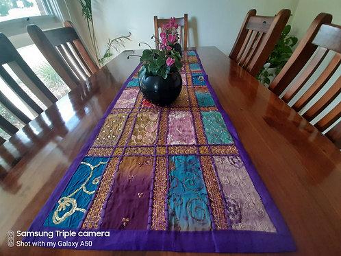 Multi-Coloured Handmade Table Runner 120cm x 40cms - Purple