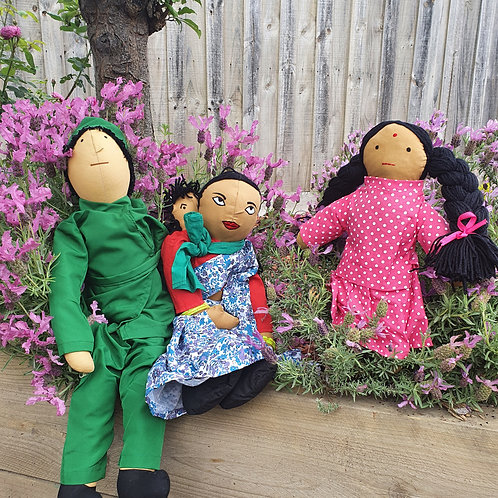 Indian Family Dolls 3 Pc Set
