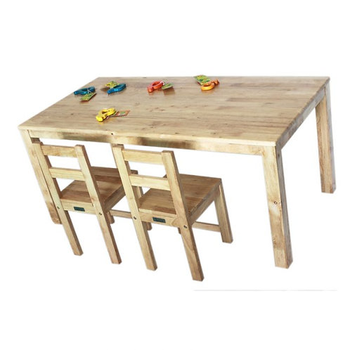 Solid Rectangular Table With 2 Standard Chairs