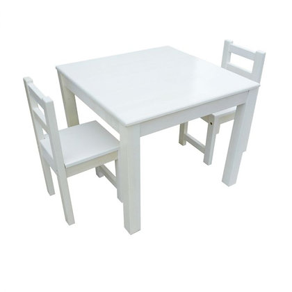 Timber White Table with 2 Standard Chairs