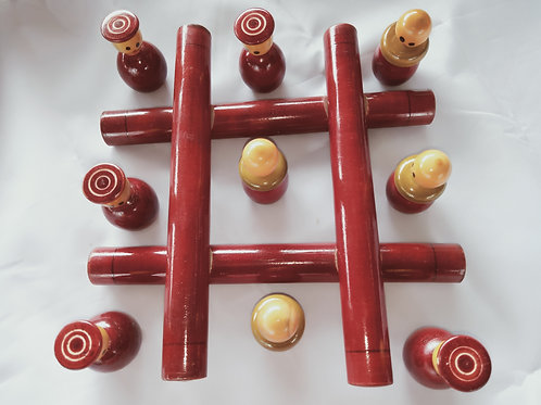 Wooden Tic tac traditional game with 5 king & 5 pawn